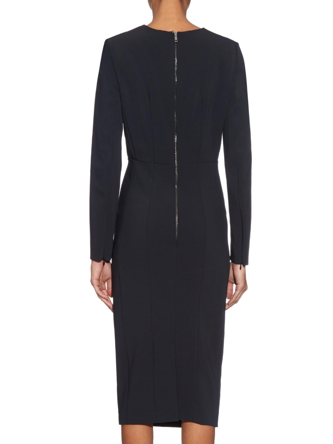 Sportmax Ventoso Stretch Crepe Dress In Black Lyst