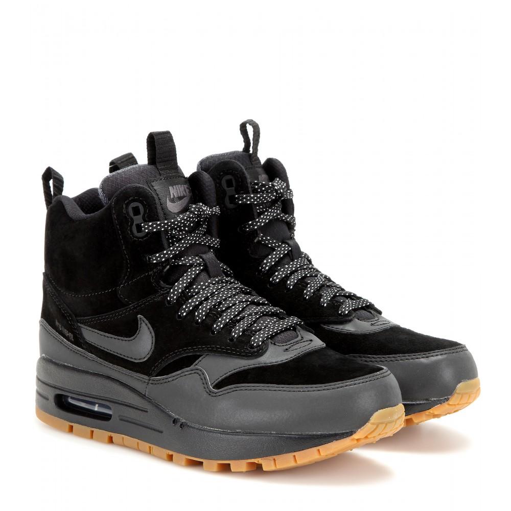 Women's Black Air Max 1 Mid Sneaker Boots
