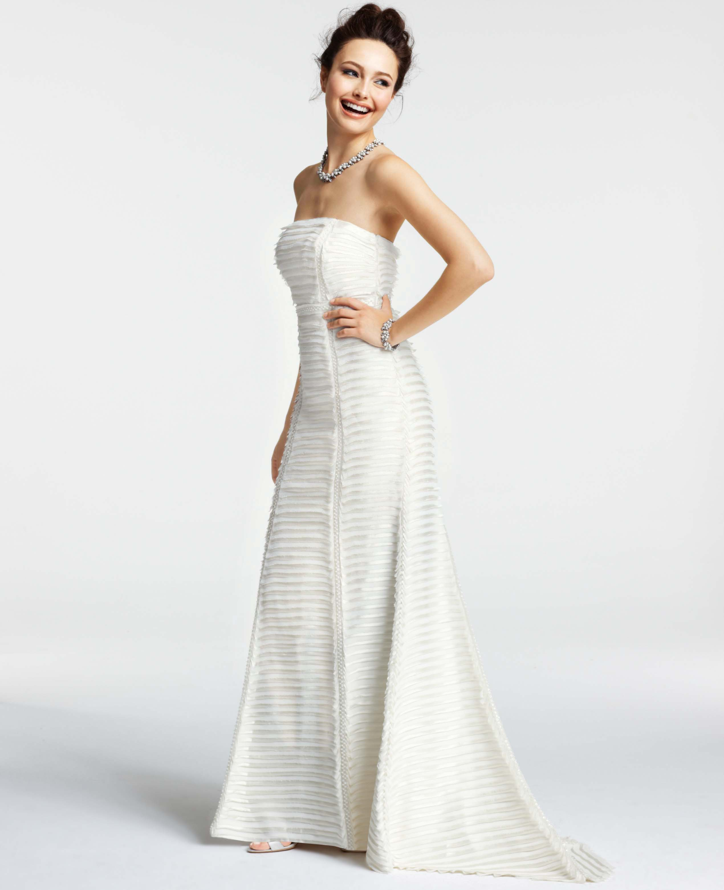 Ann Taylor Silk Charmeuse Tiered Strapless Wedding Dress