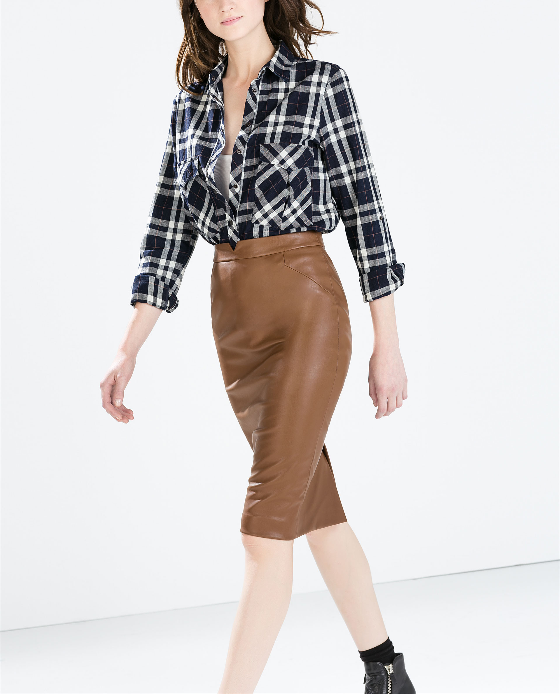 Zara Faux Leather Skirt in Brown | Lyst