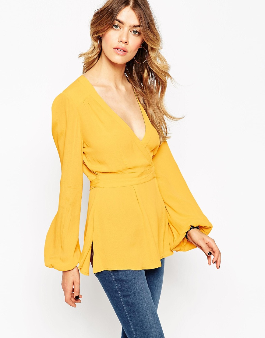 829a4de15b58c Lyst - ASOS Obi Wrap Ultimate 70s Blouse in Yellow