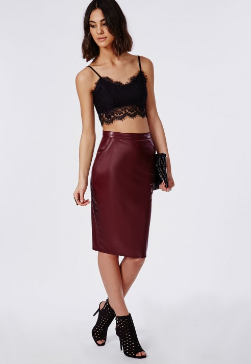Missguided Macraya Faux Leather Midi Skirt In Black - Lyst
