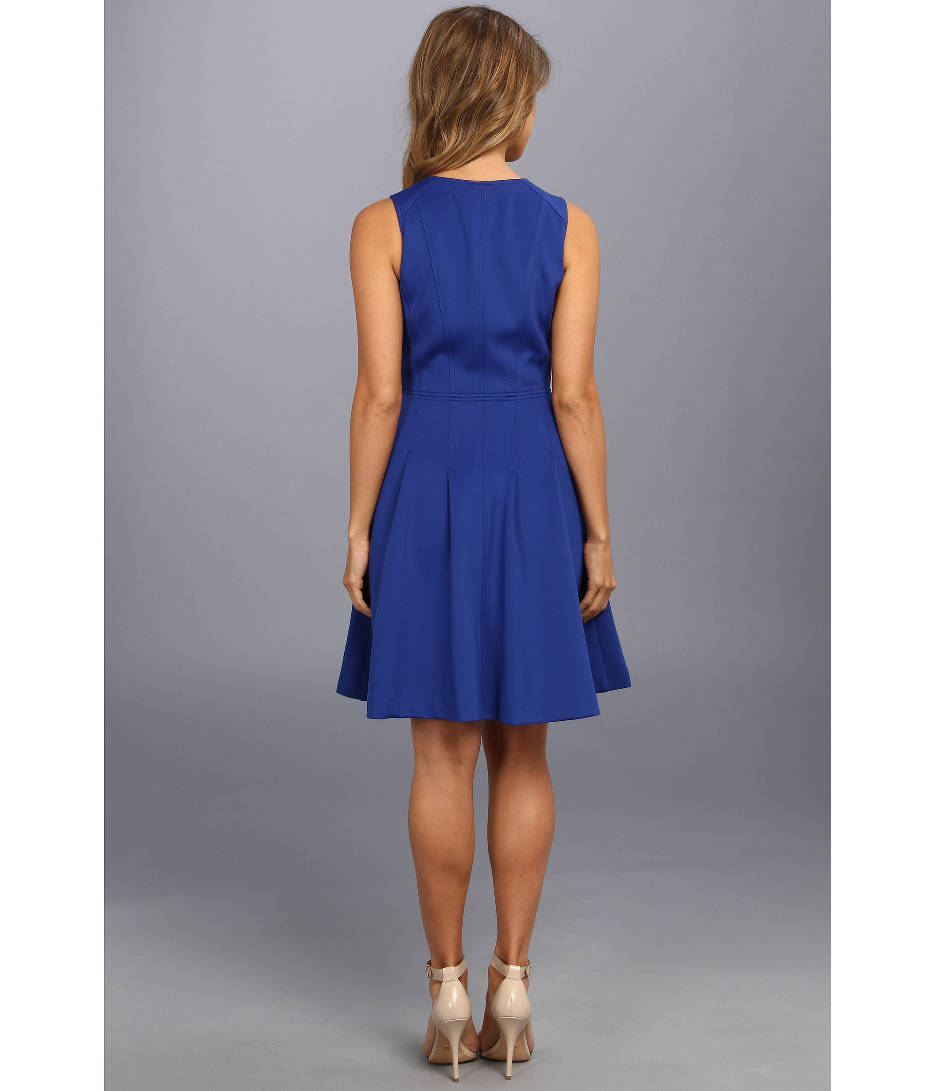 Vince Camuto Scuba Fit Flare Dress W Exposed Zip In Cobalt