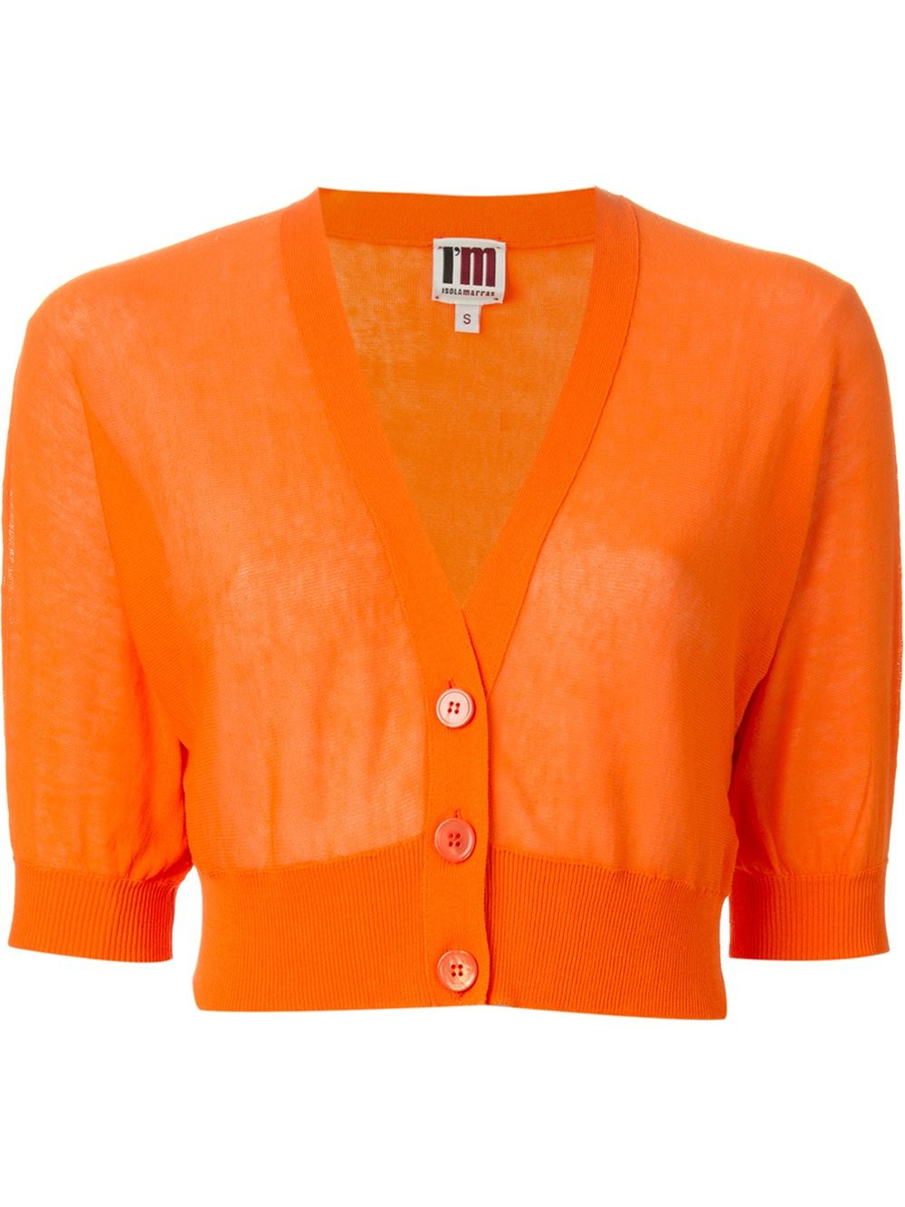 Isola marras Cropped Cardigan in Orange | Lyst