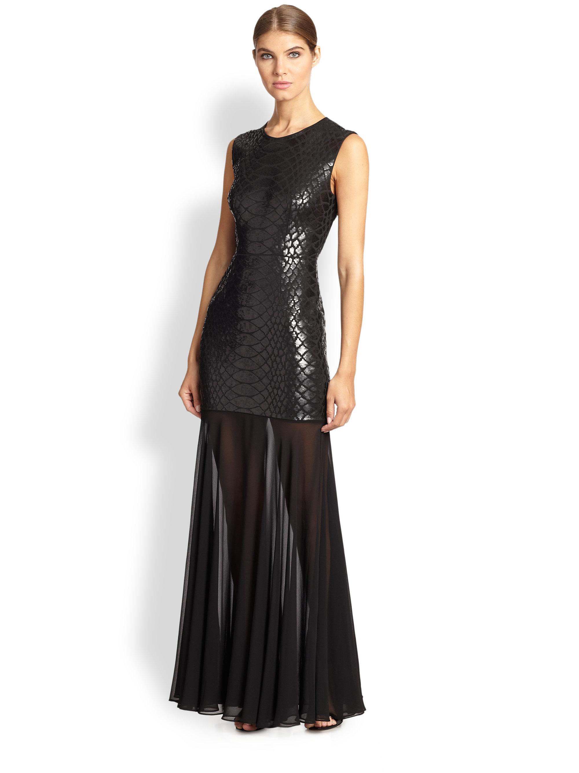 Lyst - Bcbgmaxazria Marielle Python-Sequined Gown in Black