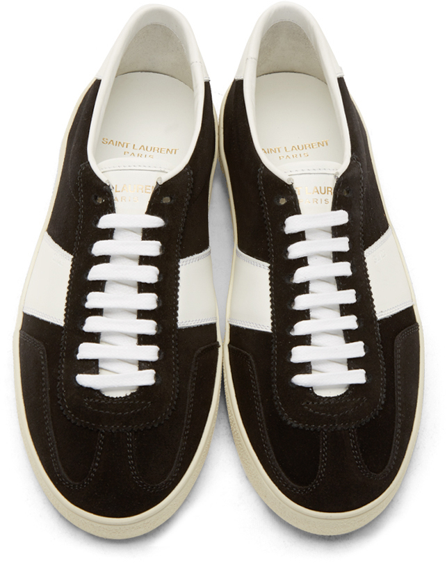9a9bd429f243 Lyst - Saint Laurent Black Suede Court Classic Sneakers in Black for Men