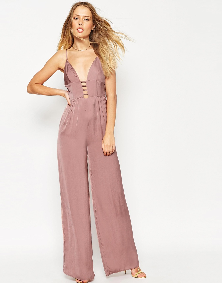 424840eb0d85 Lyst - ASOS Jumpsuit In Satin With Multi Strap Front in Pink