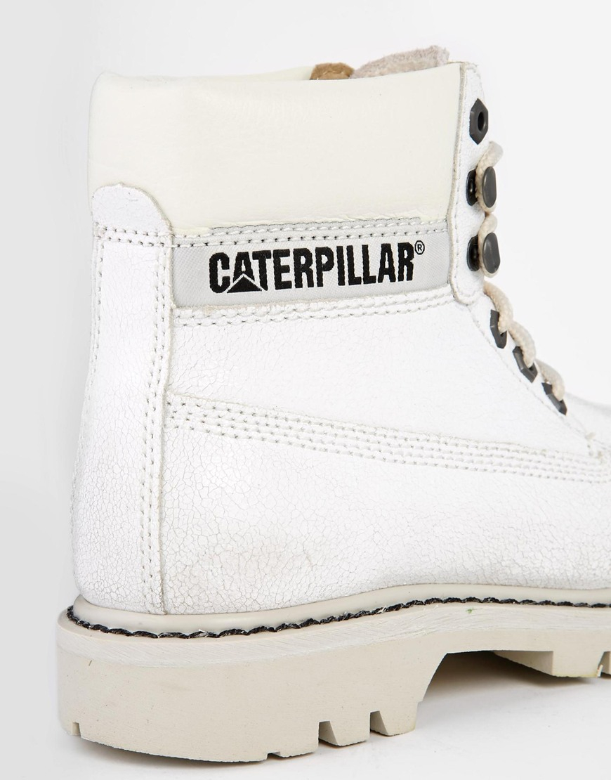 Off White Leather Ankle Boots - Lyst