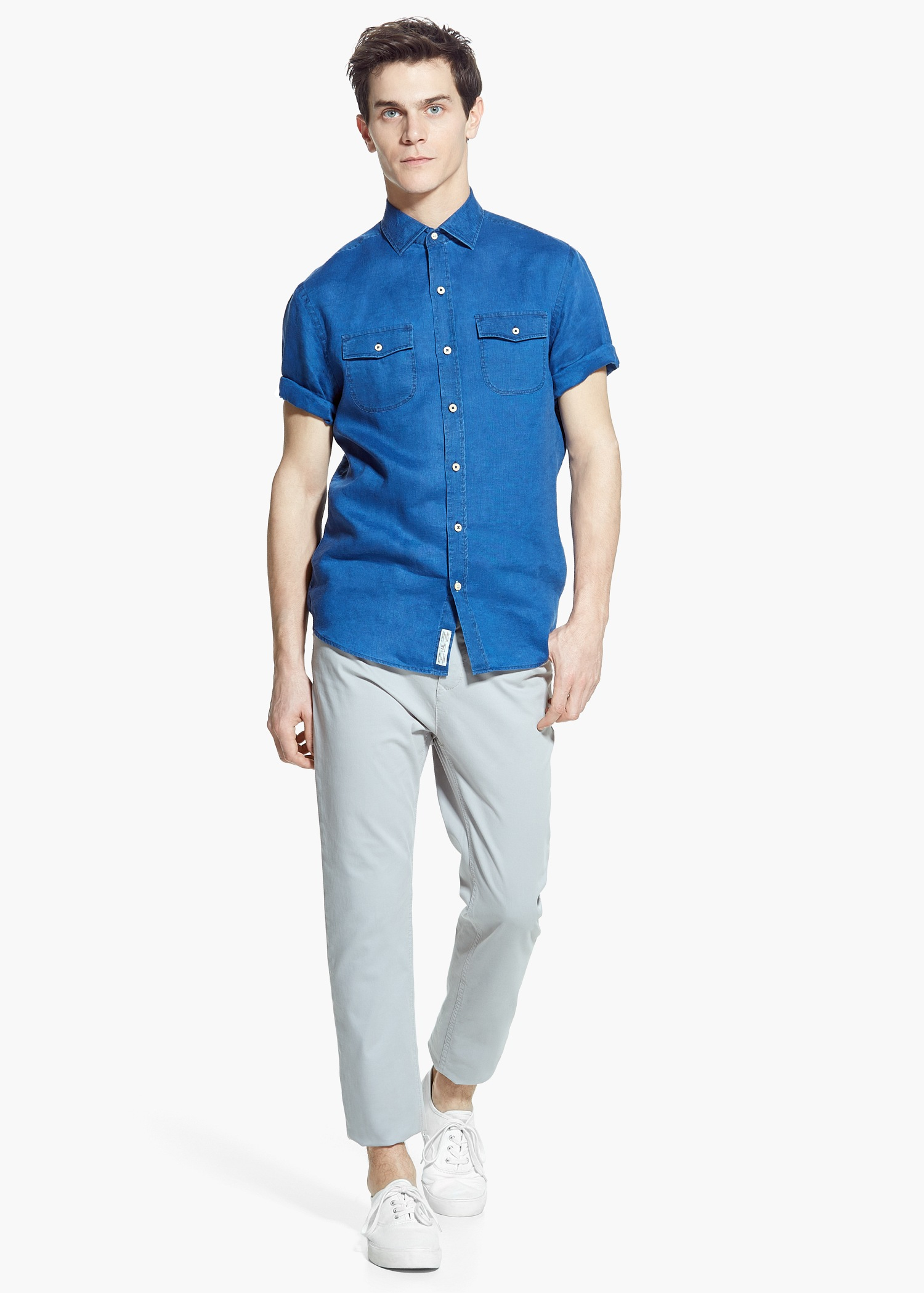 Lyst mango slim fit short sleeve linen shirt in blue for men for Short sleeve linen shirt