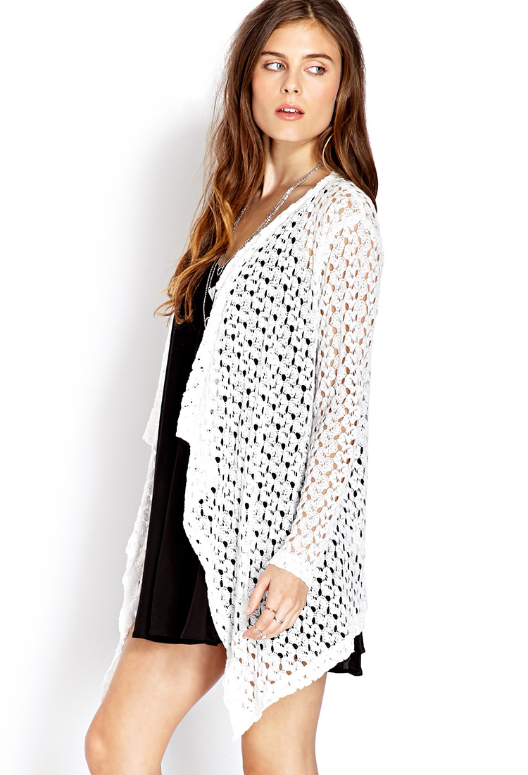 Forever 21 Retro Open-Knit Cardigan in White | Lyst