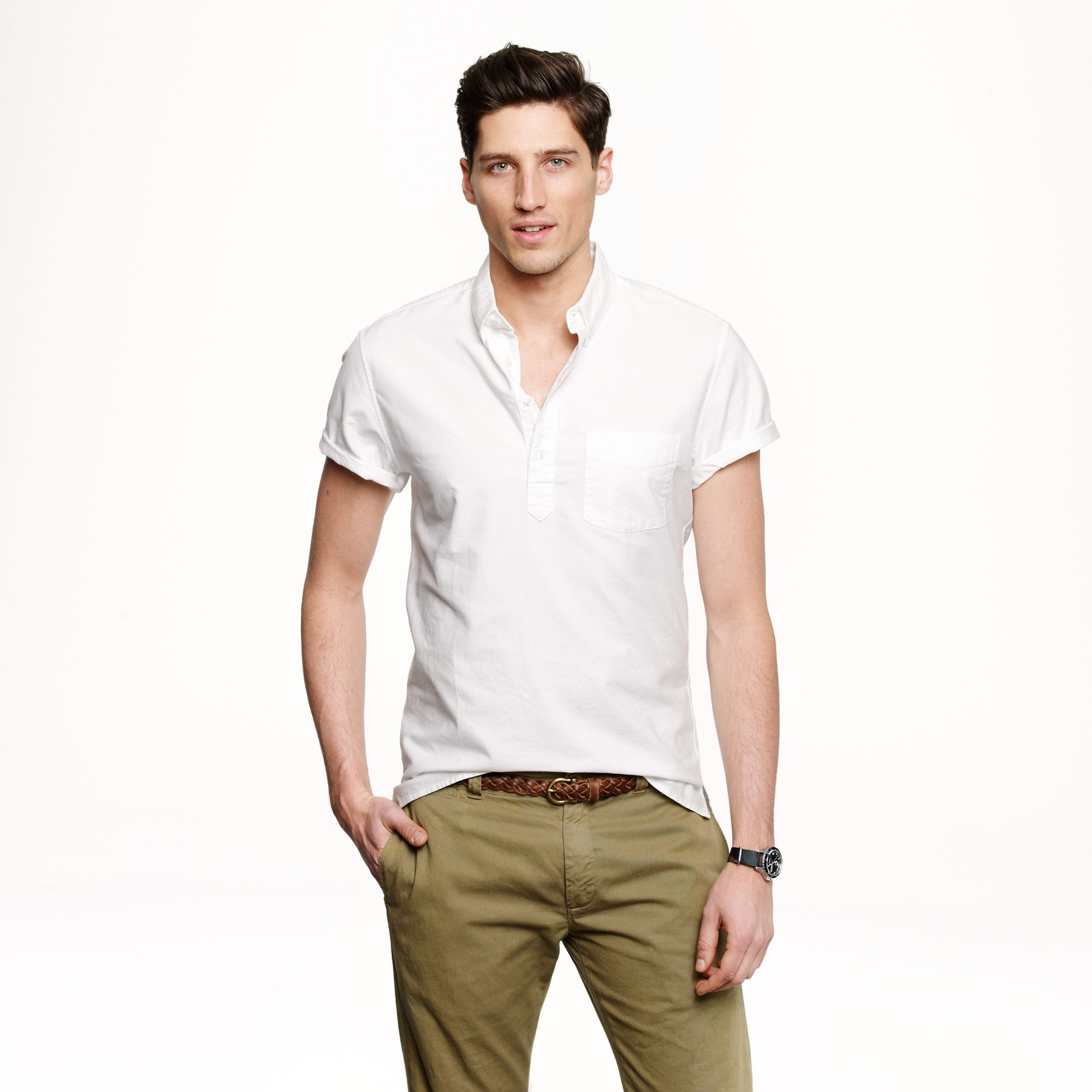 short sleeve popover shirt in vintage oxford cloth