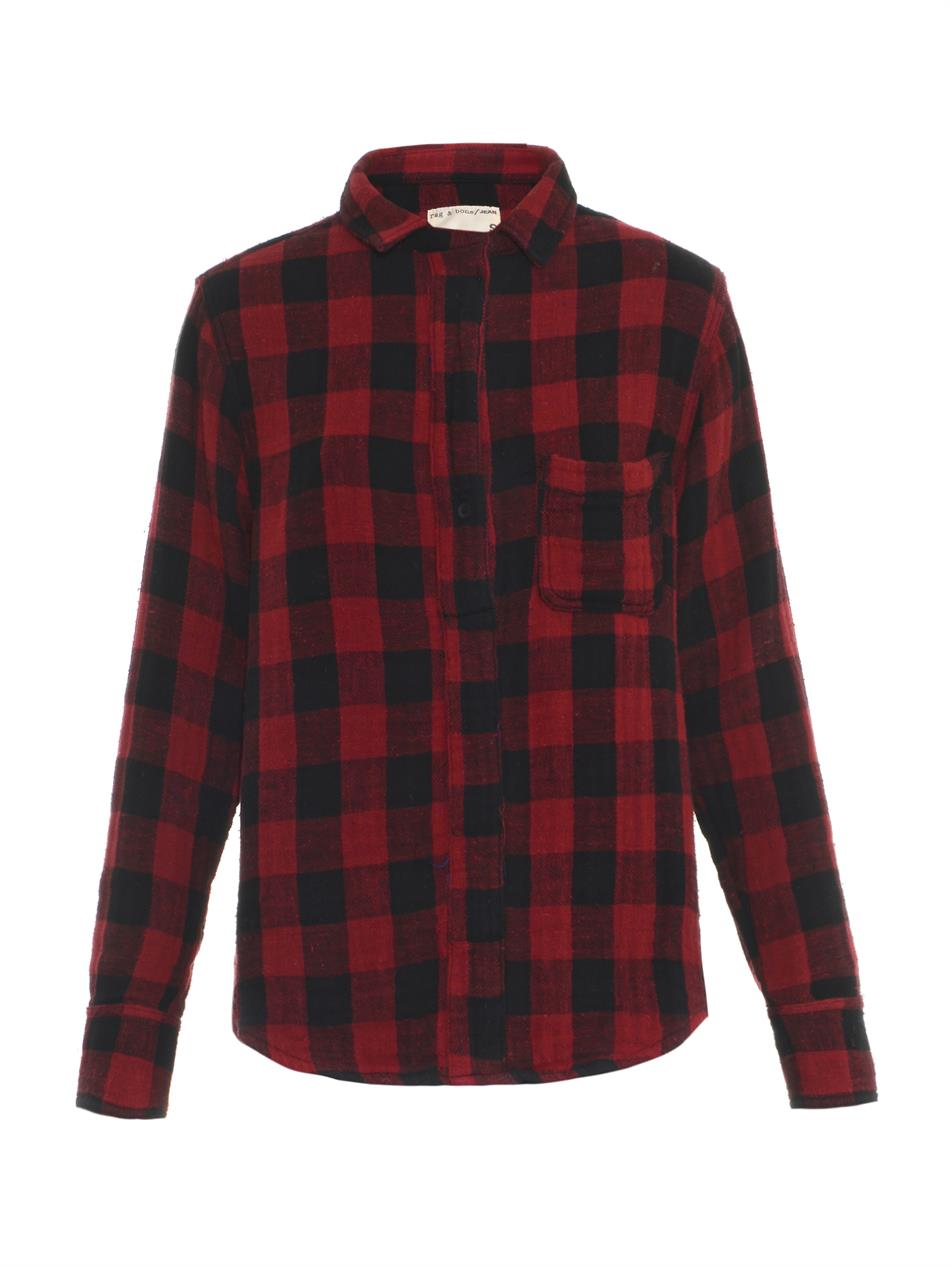 Rag bone leeds plaid print shirt in red lyst for Printed t shirts leeds
