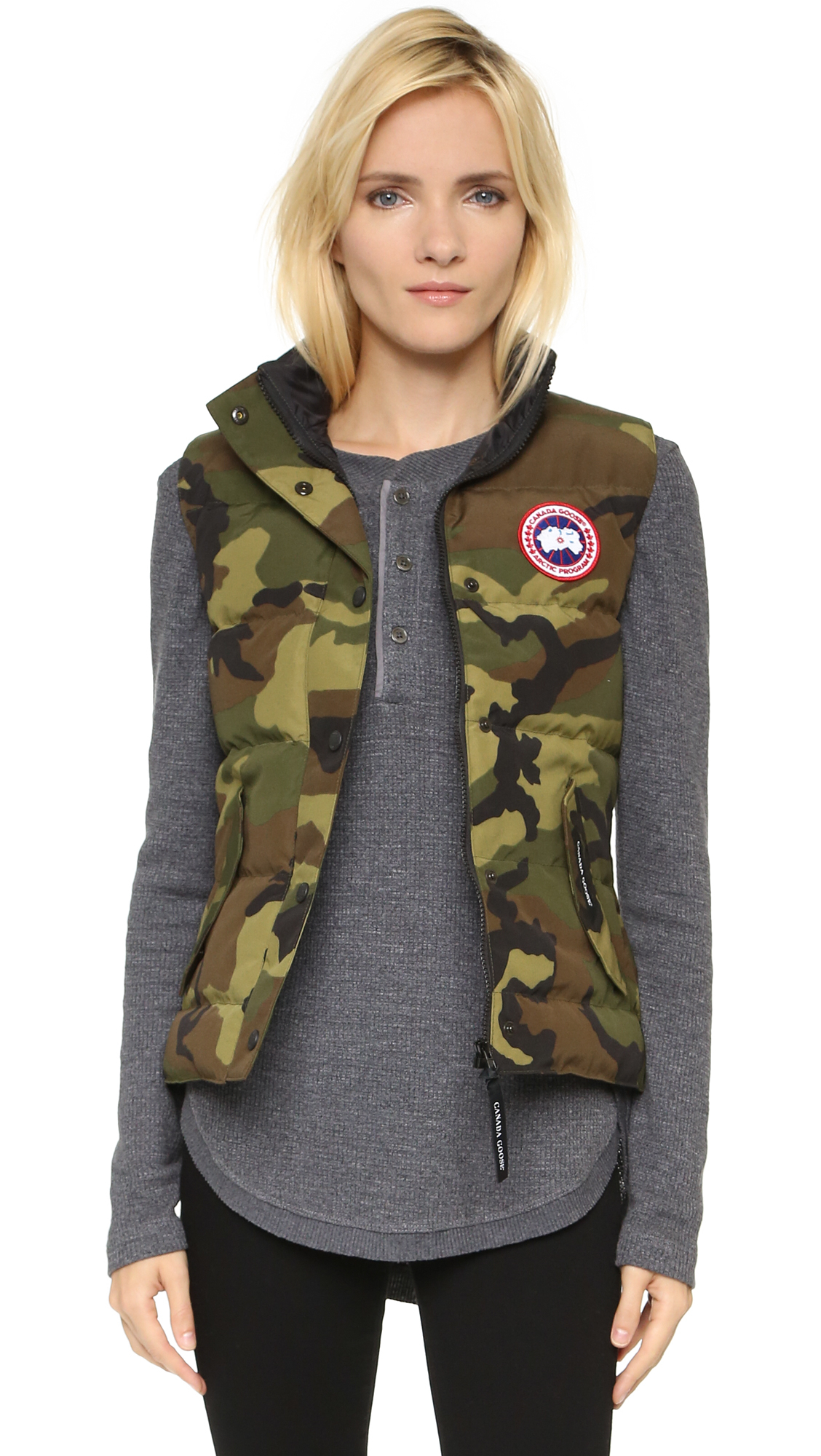 Canada goose freestyle vest in green camo lyst for Made in canada dress shirts