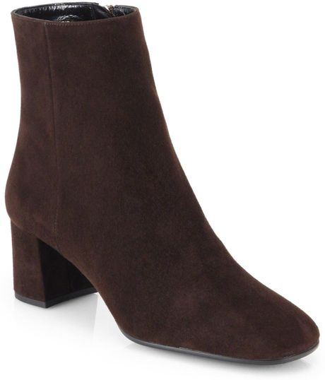 prada suede ankle boots in brown moro brown lyst