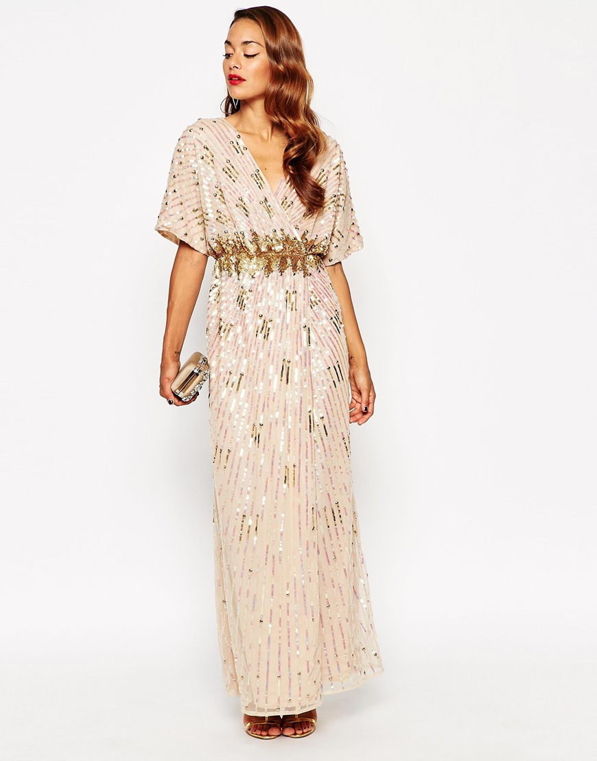 lyst asos red carpet kimono holographic sequin maxi dress in metallic. Black Bedroom Furniture Sets. Home Design Ideas