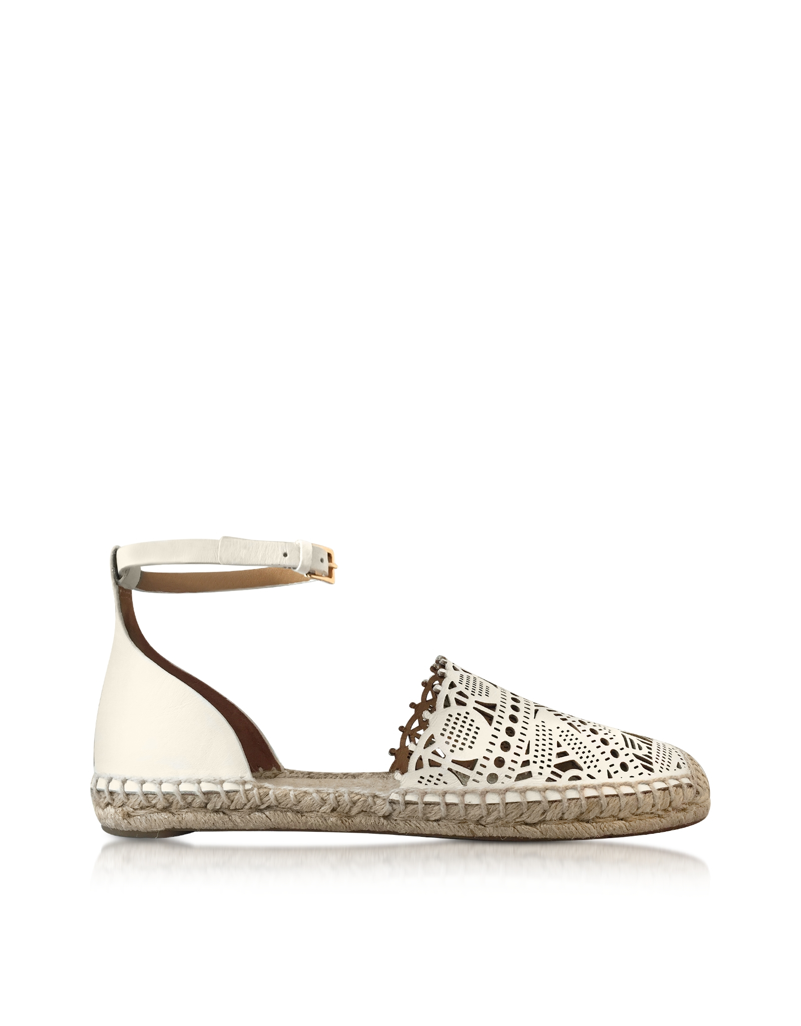 821d6443f270 Lyst - Tory Burch Roselle Ivory Nappa Flat Espadrille in White