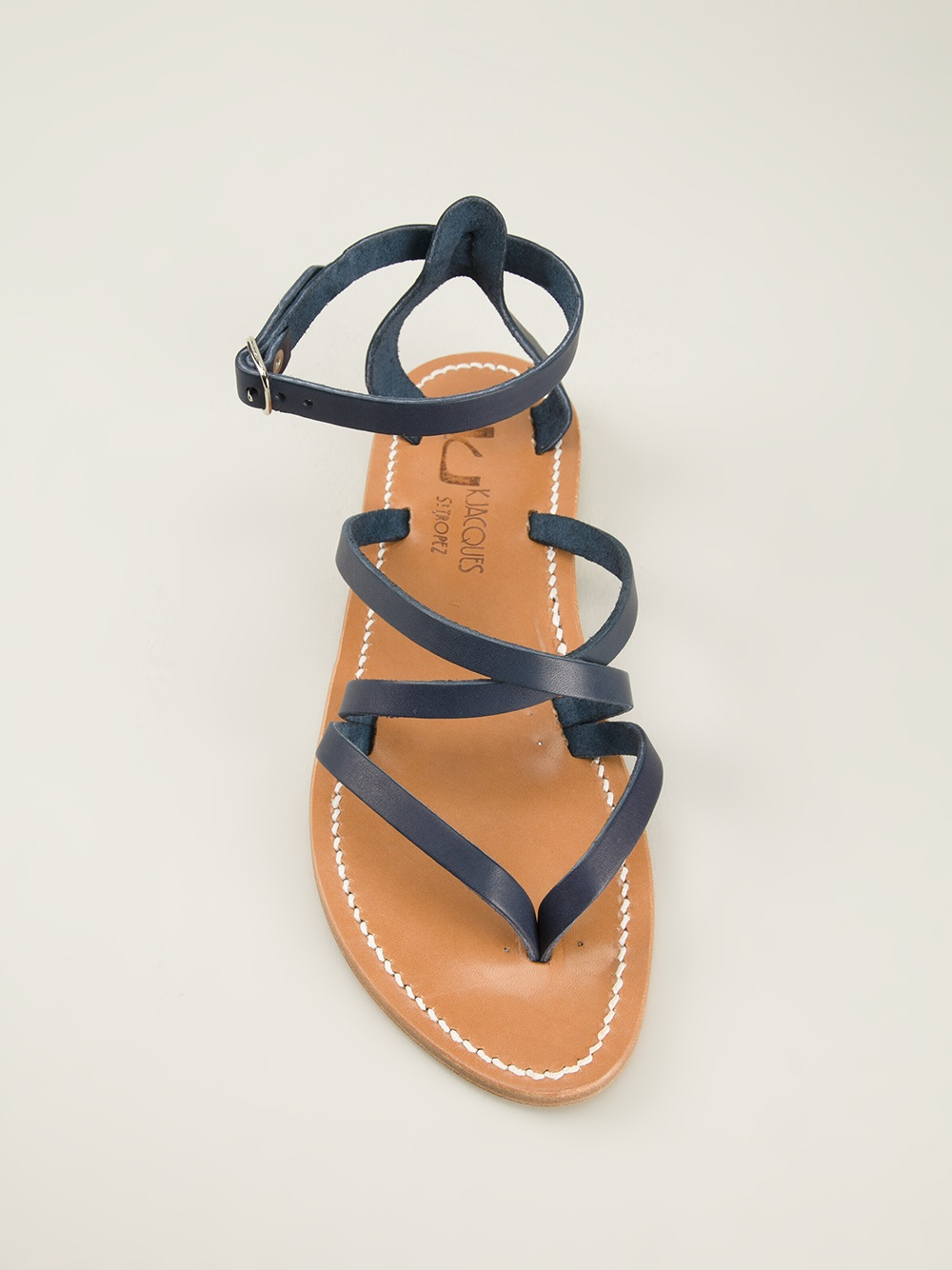 e5643343b11b Lyst - K. Jacques Strappy Flat Sandals in Blue