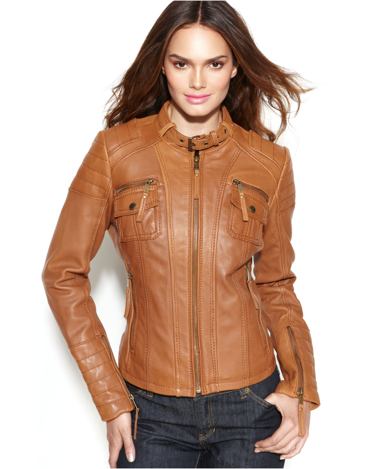 michael kors michael leather buckle collar motorcycle jacket in brown lyst. Black Bedroom Furniture Sets. Home Design Ideas