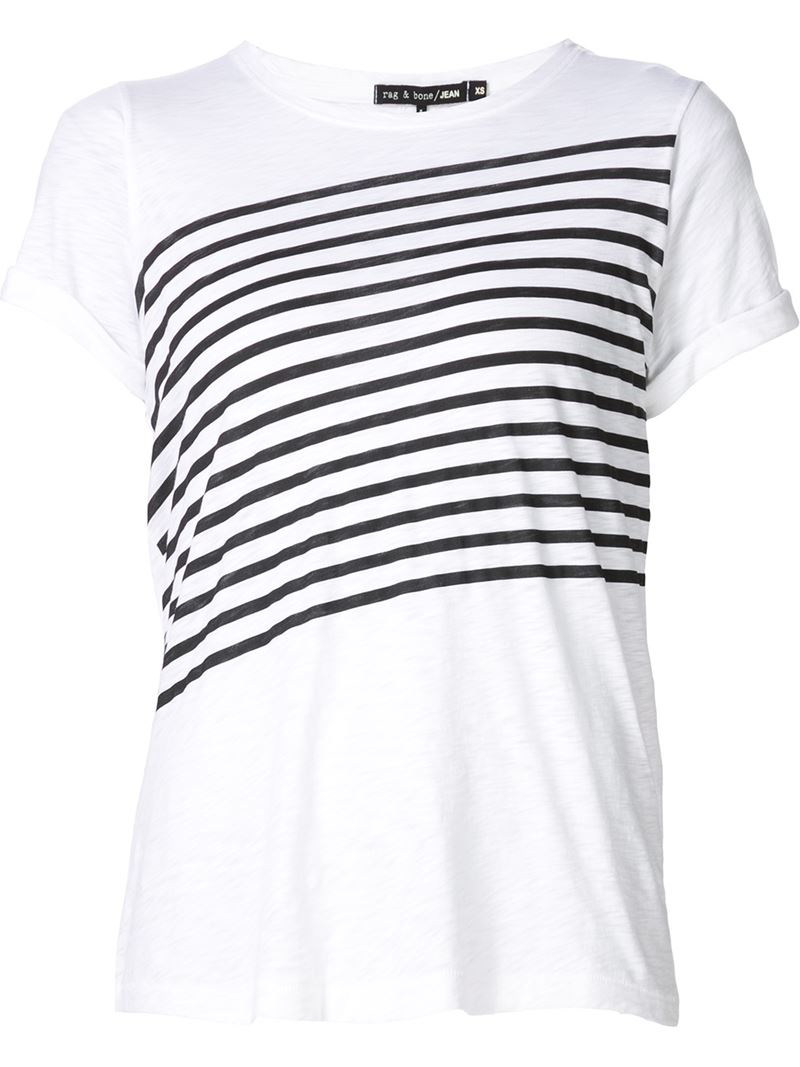 Rag bone chest pocket t shirt in white lyst for Rag and bone mens shirts sale