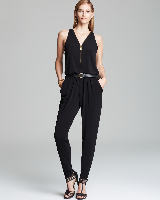 michael michael kors zip front jumpsuit in black lyst. Black Bedroom Furniture Sets. Home Design Ideas