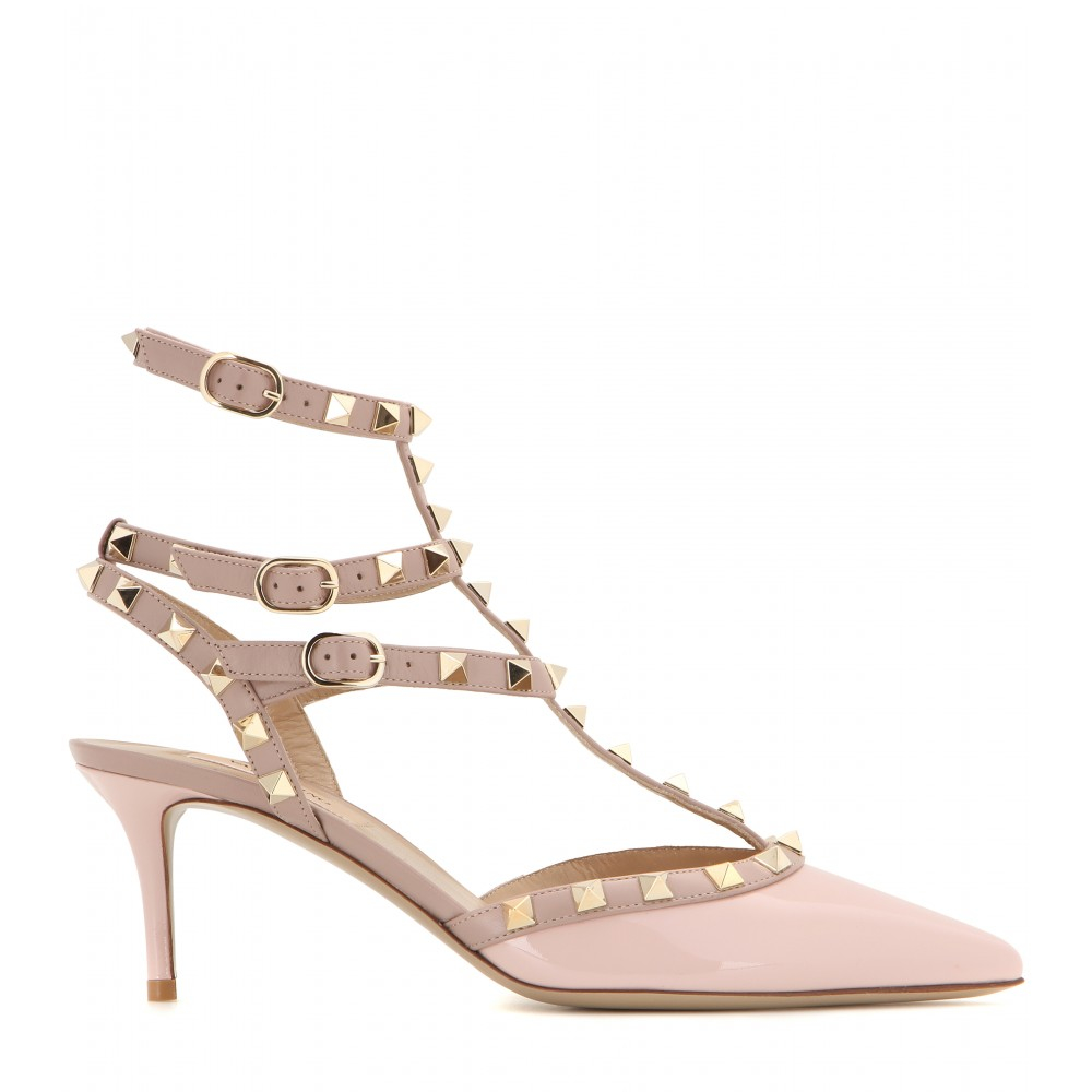3bc1b43c49 Valentino Rockstud Patent-Leather Kitten-Heel Pumps in Pink - Lyst
