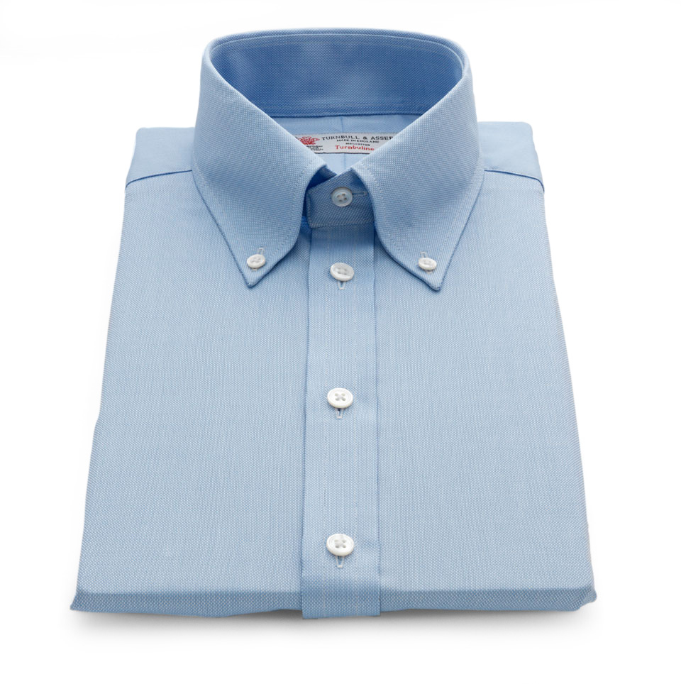 Turnbull Asser Royal Oxford Light Blue Shirt With Button
