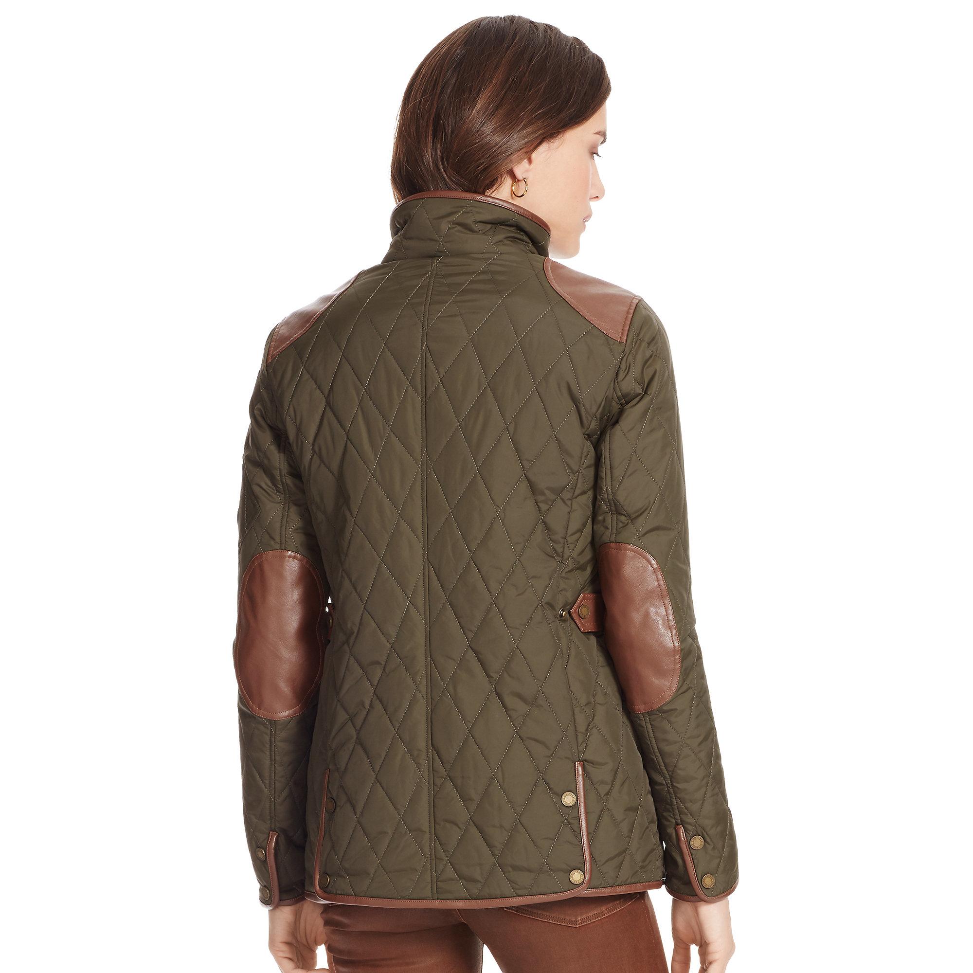 Lyst Ralph Lauren Quilted Mockneck Jacket In Brown