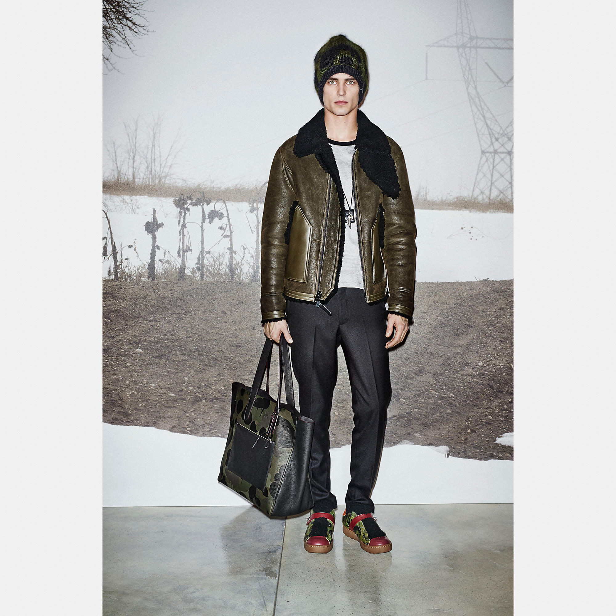 Coach Shearling B3 Bomber Jacket In Green For Men Lyst