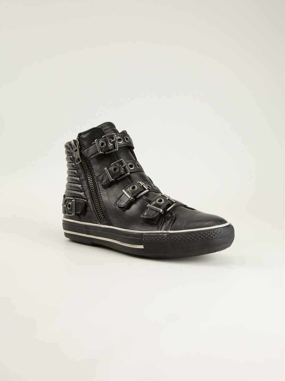 Ash Buckled Sneakers in Black