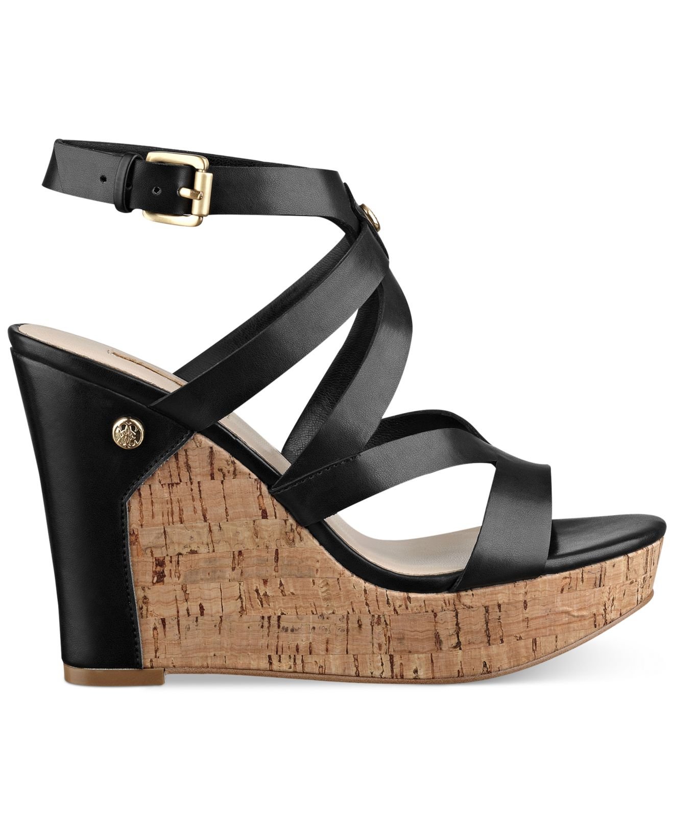 ca3c0591033e80 Lyst - Guess Women s Harlee Cork Platform Wedge Sandals in Black