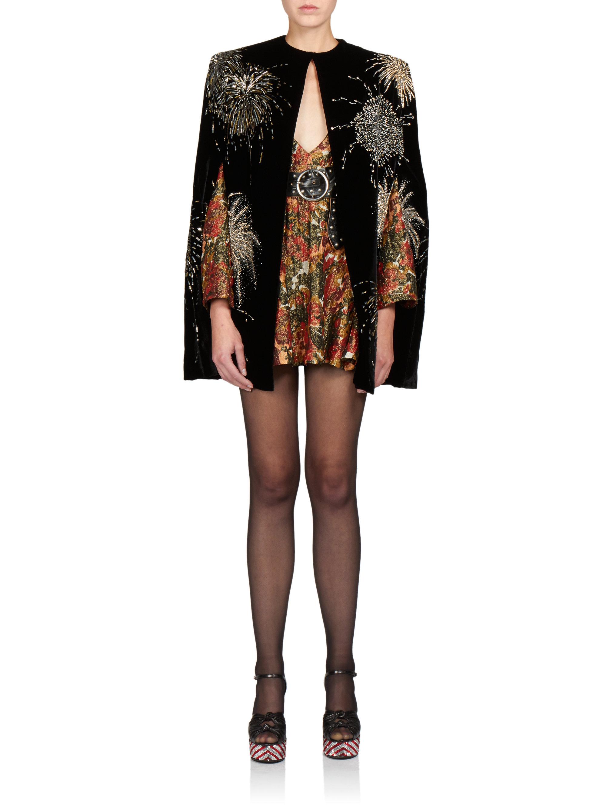 saint laurent floral brocade dress lyst. Black Bedroom Furniture Sets. Home Design Ideas