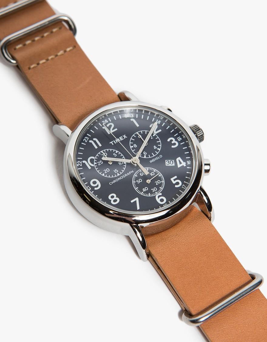 Lyst Timex Weekender Chrono In Navy In Brown For Men