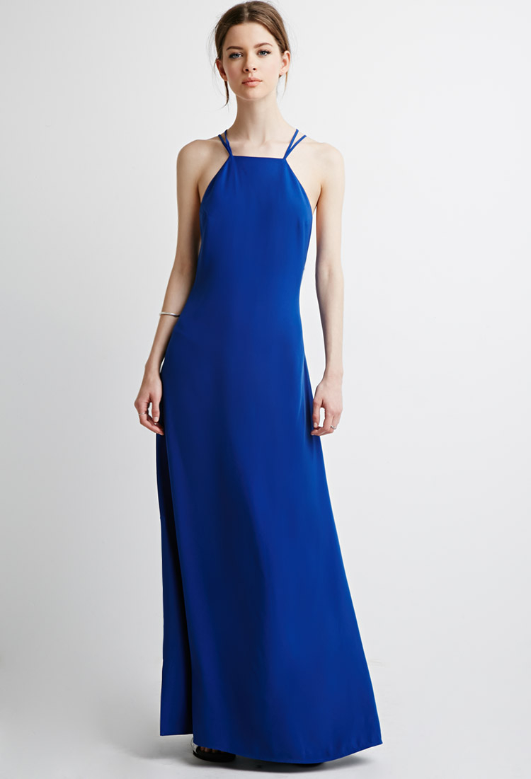 837b040456 Lyst - Forever 21 Strappy Halter Maxi Dress in Blue