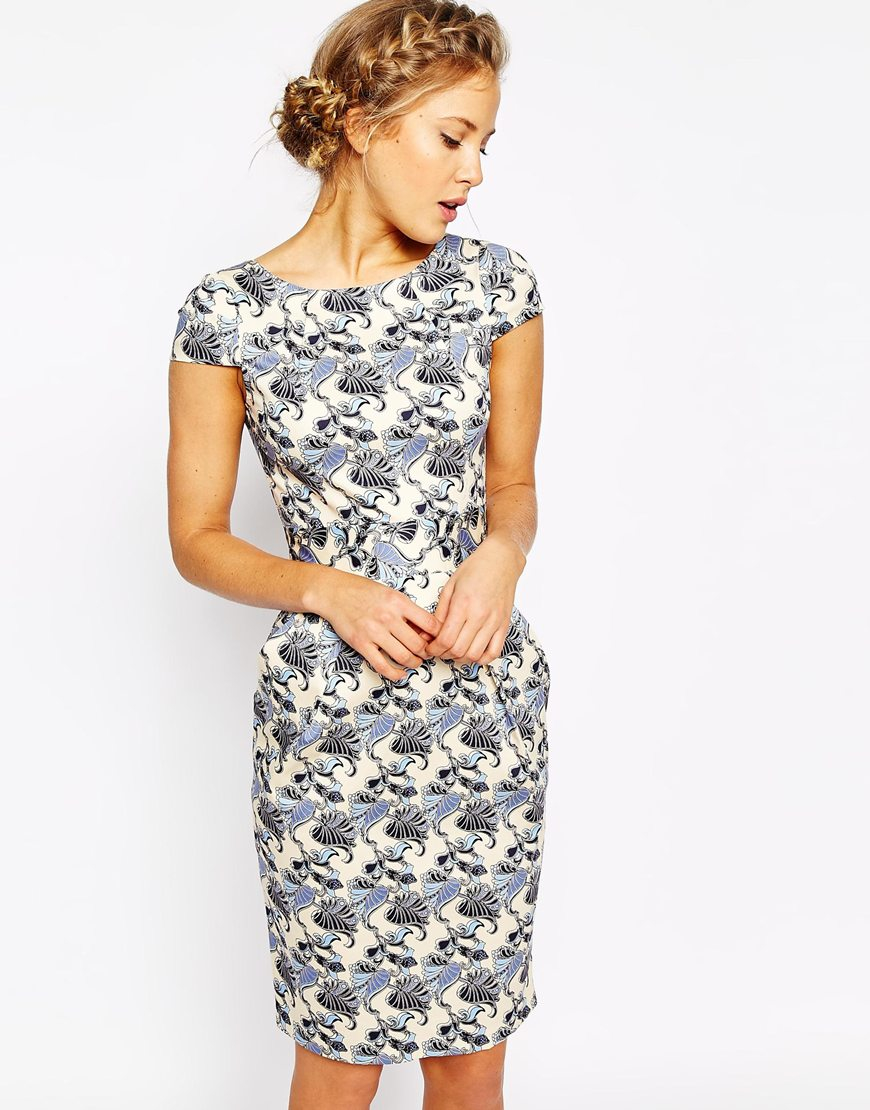 Closet Tie Back Pencil Dress In Floral Print In Blue