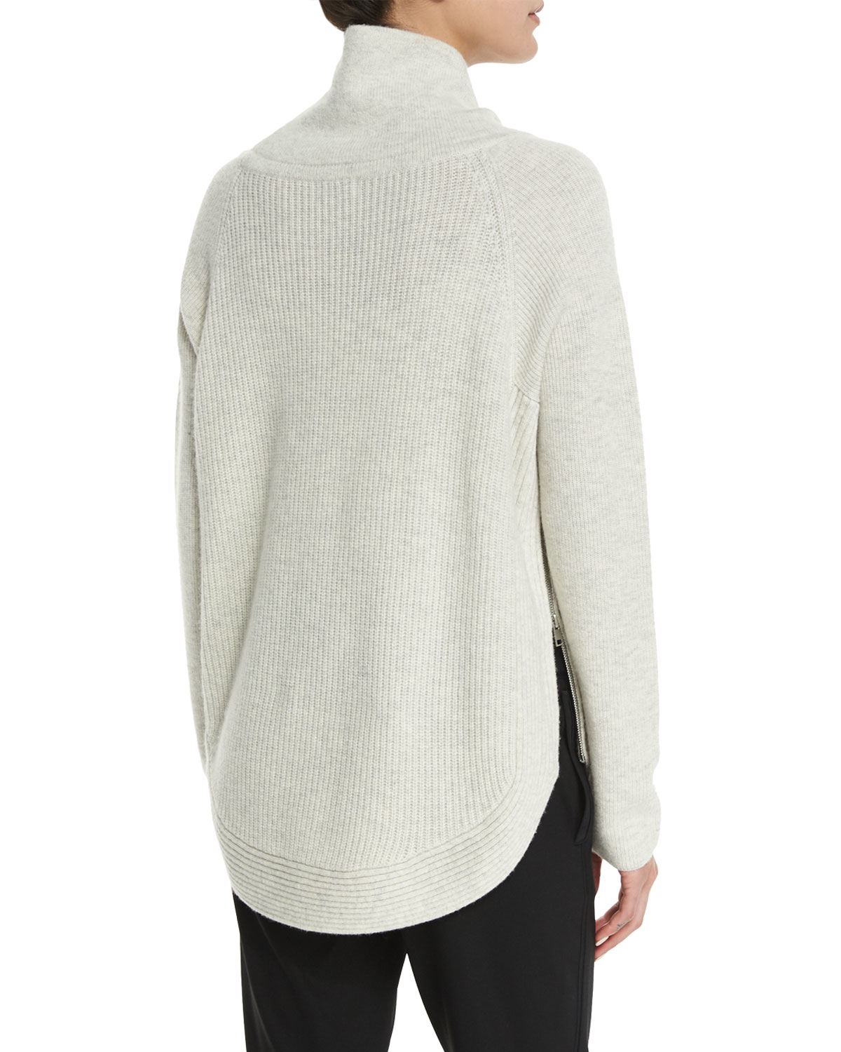 d41ae6eab3075 Vince Side-zip Ribbed Turtleneck Sweater in Natural - Lyst
