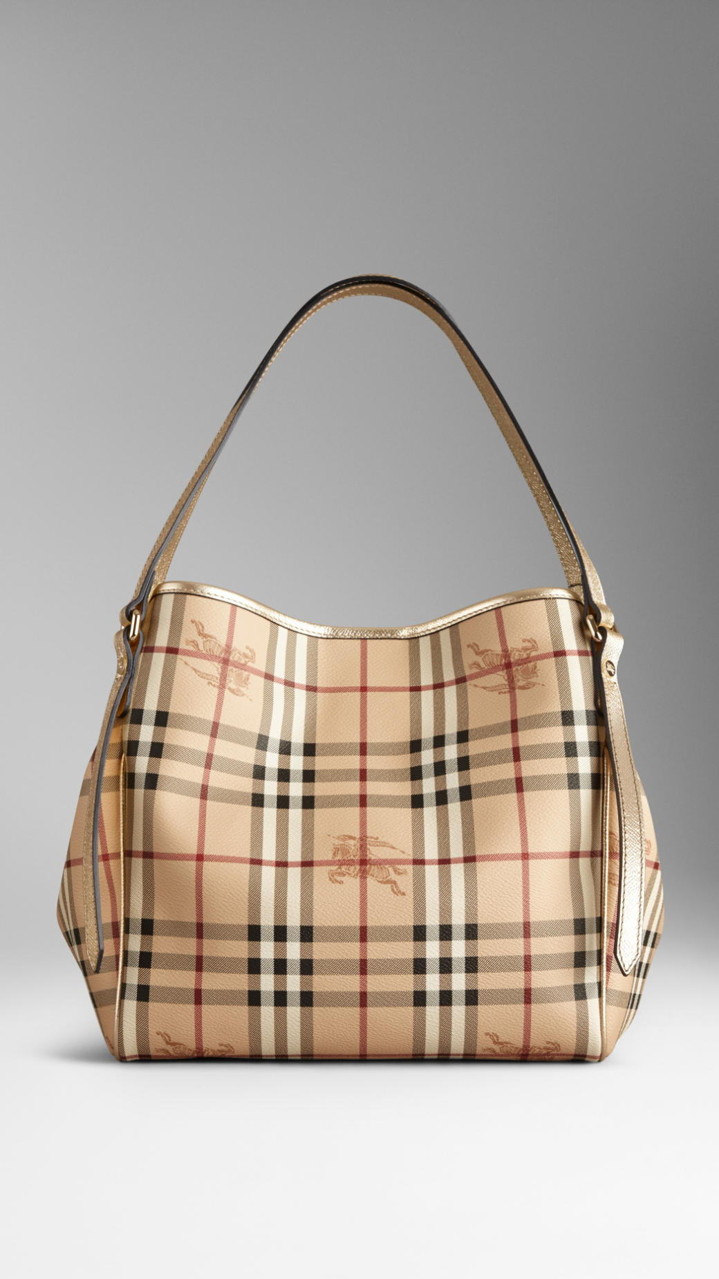 Burberry Small Haymarket Check Patent Trim Tote Bag in Metallic - Lyst b4d29b1fb17ee