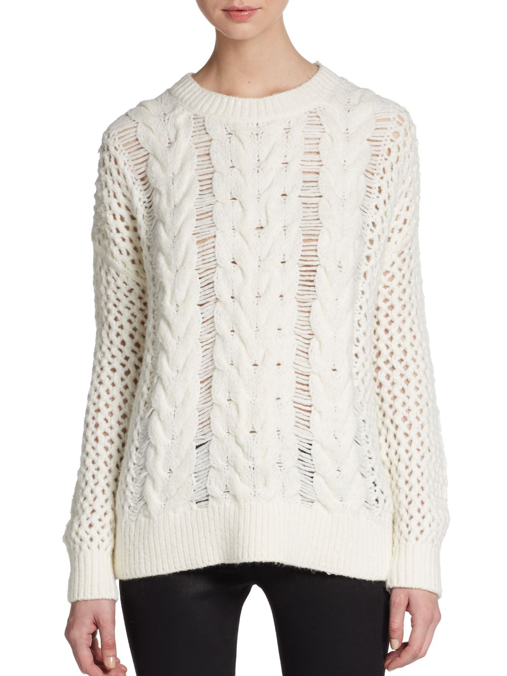 Elizabeth and james Hand Knit Cable Sweater in Natural | Lyst