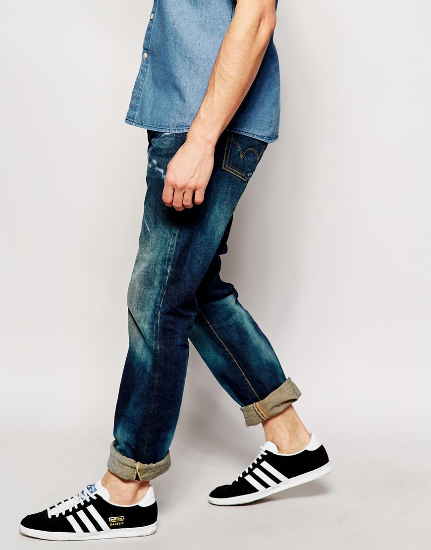 Unwashed Blue Edwin Jeans ED-55 Regular Tapered 63 Rainbow Selvage Jeans