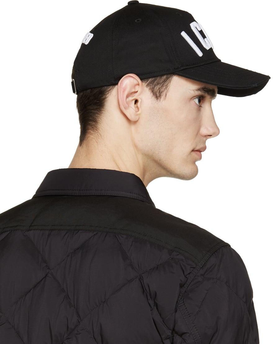 79d60fec438 Lyst - DSquared² Black Icon Cap in Black for Men