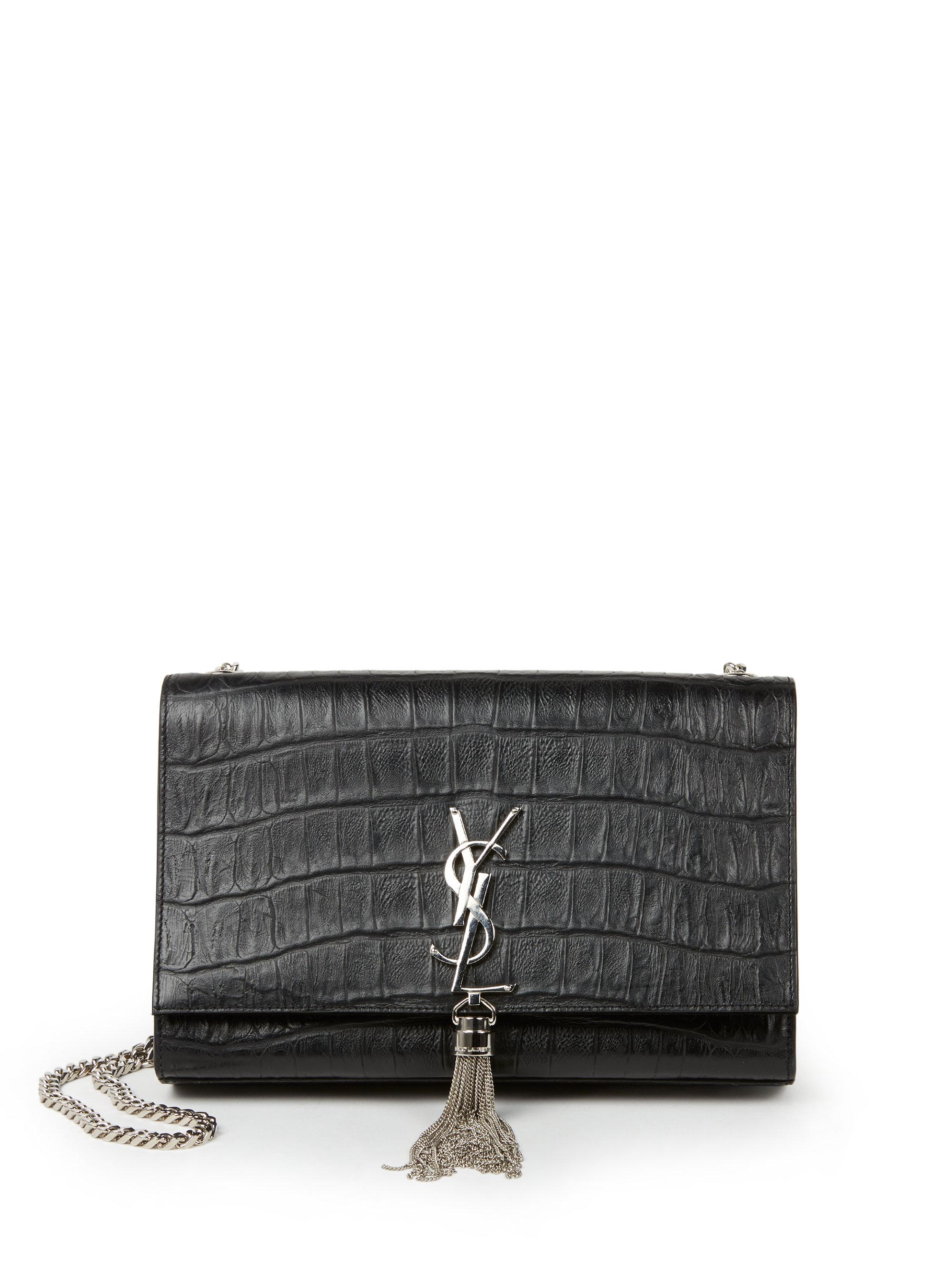 69d4b9a042b4 Lyst - Saint Laurent Monogram Medium Crocodile-embossed Leather ...