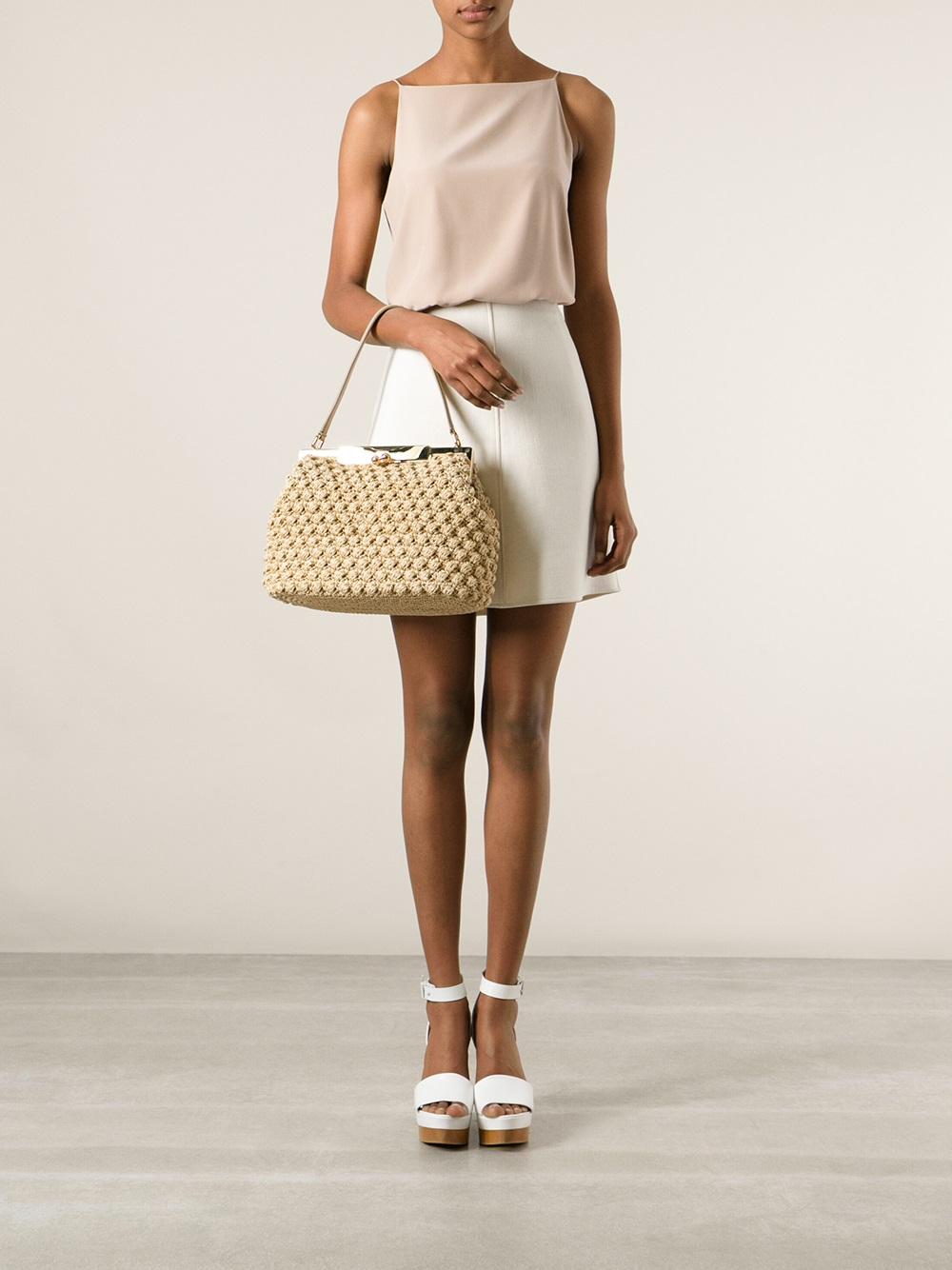 Lyst Dolce Amp Gabbana Medium Crochet Bag In Natural