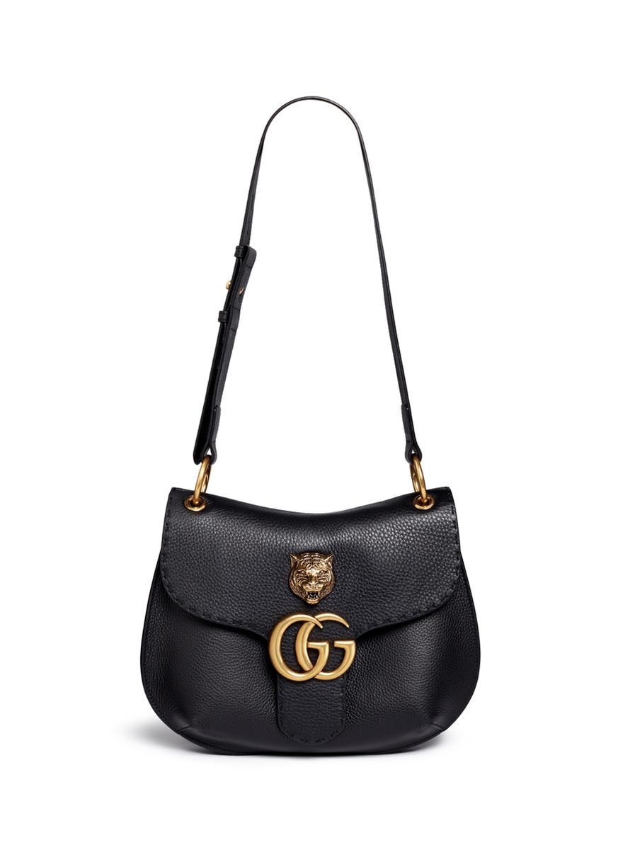 9a7d40891 Gucci 'gg Marmont' Medium Brass Tiger Leather Shoulder Bag in Black ...