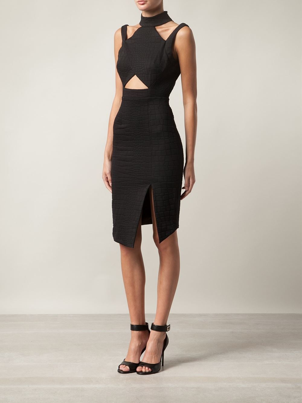 cut out sleeve ribbed dress - Black Jonathan Simkhai VEE25tz7c