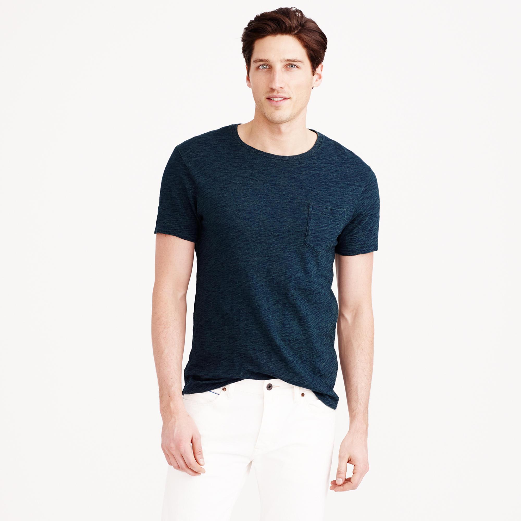 5a0e078e0 J.Crew Blue Wallace & Barnes Indigo Pocket T-shirt for men
