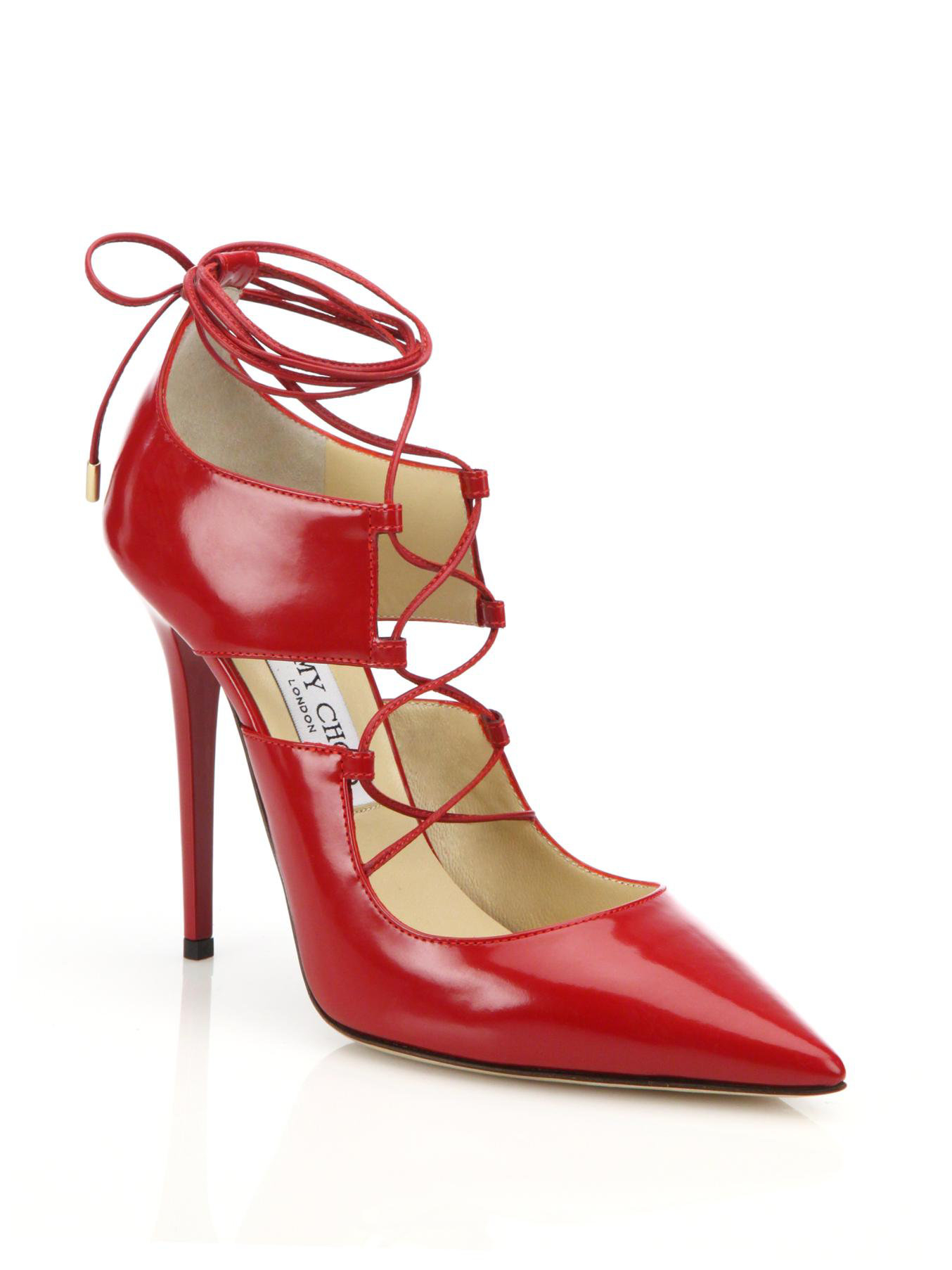a62a265deabd Jimmy choo Hoops Lace-up Leather Pumps in Red