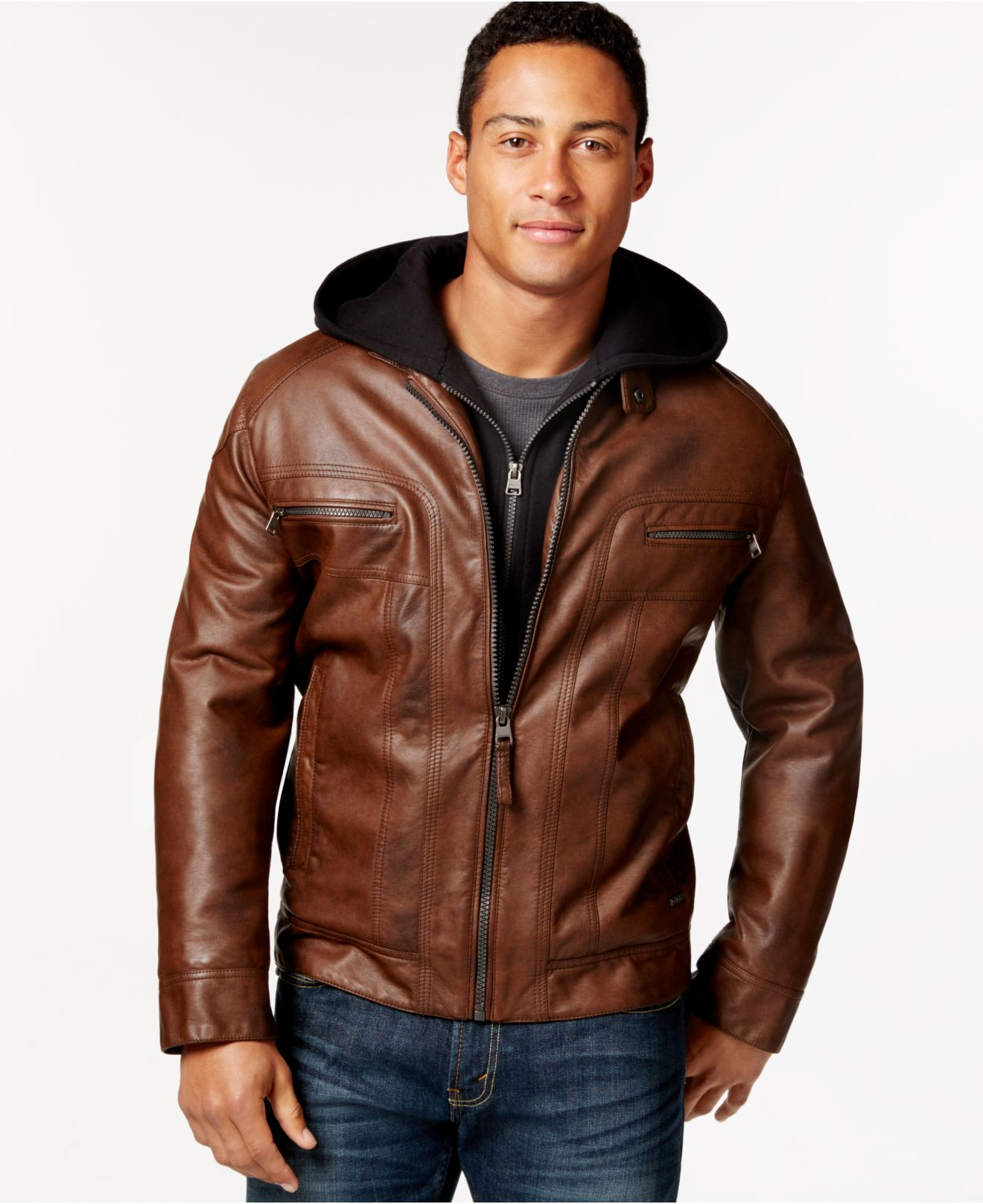 Calvin Klein Big Tall Faux Leather Jacket With Hood