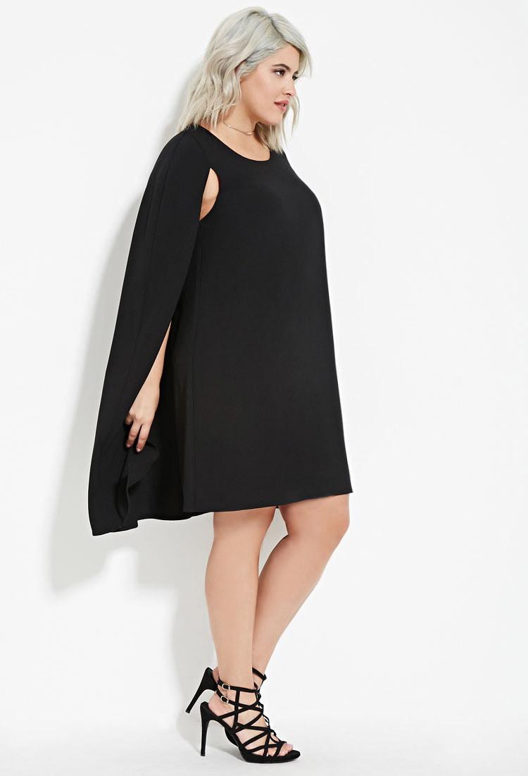 Plus Size Layered Cape Dress