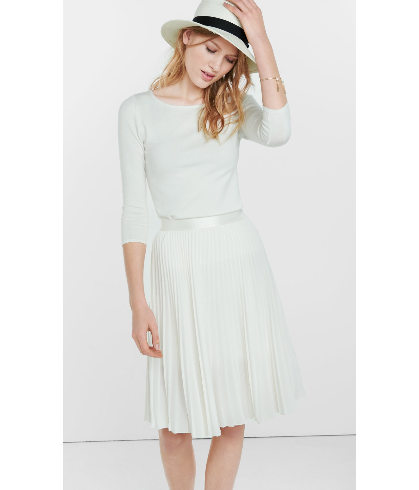 White Pleated Midi Skirt Photo Album - Watch Out, There's a ...