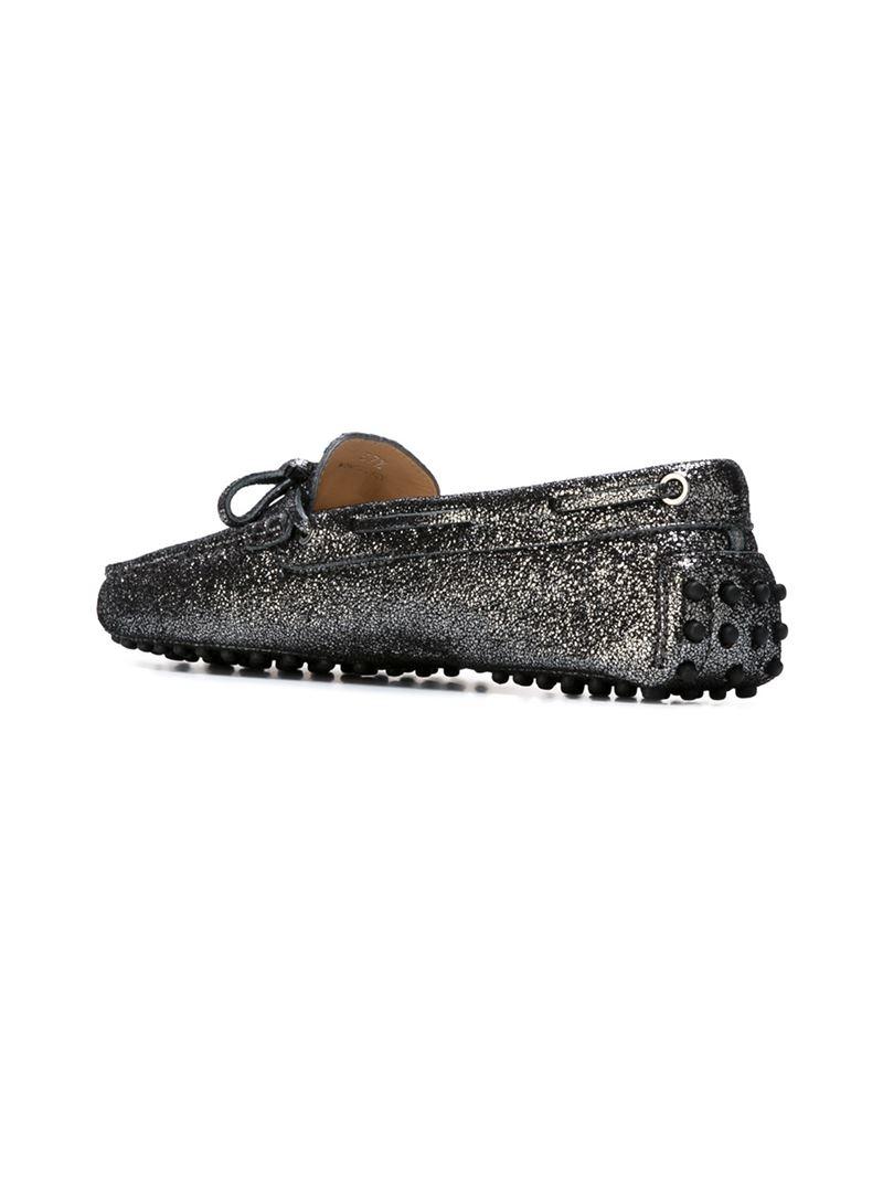 Tod's Metallic Glitter Loafer - Lyst