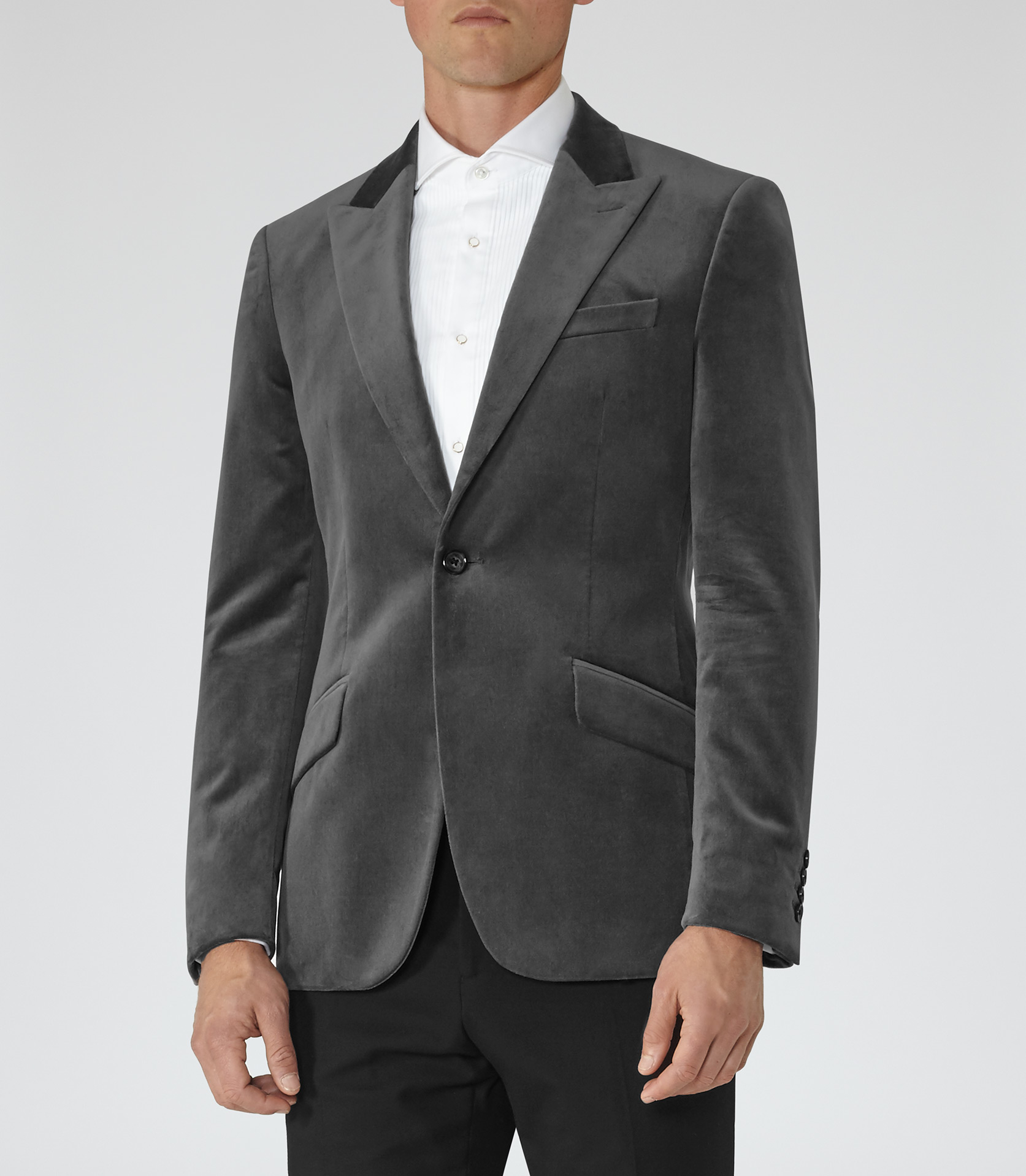 Mens Grey Velvet Blazer
